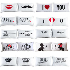 2Pcs Rectangle Couple Cushion Cover Throw Pillow Case Home Sofa Bedroom Decor