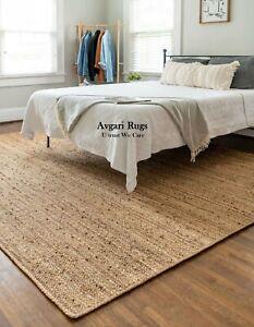 Rug Carpet Jute Handmade Braided 100% Natural  Rustic Look Jute Style Reversible