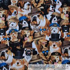 BonEful FABRIC Cotton Quilt Brown Dog Mix Breed Sun*Glasses Hat Retriever SCRAP