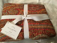 New Pottery Barn Lara Reversible Standard Quilted Paisley Pillow Sham