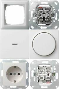 Gira System 55 reinweiß glänzend Schalter Wippe Rahmen Steckdose Auswahl NEU