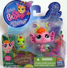 Littlest Pet Shop GLISTENING GARDEN FAIRIES Pansy & Baby Grasshopper 2614 2615