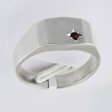 Sterling Silver Ring, flat top style set with a Ruby.