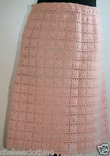 "1960s True Vintage Crochet Skirt Hand-Knitted UK10/W28""/L20"" Pink/Peach A-Line"
