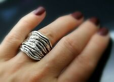 Made In Israel Beautiful Vintage Textured Sterling Silver Modernist Ring 9.25