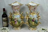 PAIR XL top antique 19thc Vieux old paris romantic lady child dog scene Vases