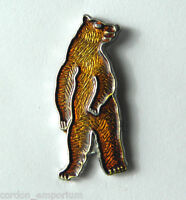 BROWN GRIZZLY BEAR STANDING ANIMAL WILDLIFE LAPEL PIN BADGE 3/4 INCH