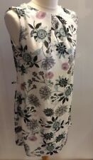 Ladies Cream Floral Print Sleeveless Sheath Dress Lined Size 10 Office Work