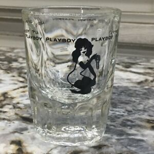 Two The Playboy Provocative Double Shot Heavy Bottom  Glass Vintage Clear Sexy