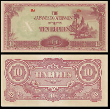 BURMA 10 RUPEES 1942 P WWII JAPANESE OCCUPATION AUNC