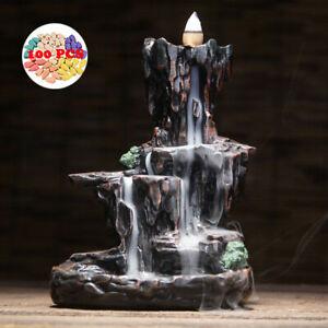 Ceramic Mountain Waterfall Backflow Smoke Incense Burner Censer Holder 100 Cones