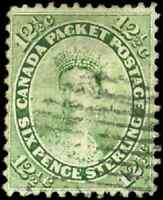 Canada #18 used F 1859 First Cents 12 1/2c yellow green Queen Victoria CV$80.00