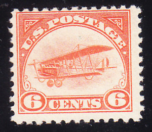 US Scott C1 old 6c 1st issue Curtiss Jenny air mail stamp M/NH/OG/F CV $120