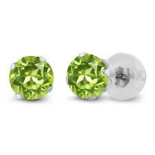 1.00 Ct 5mm Round Cut Natural Peridot 10K White Gold Stud Womens Earrings