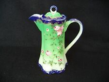Hand painted Nippon chocolate pot coffee pink roses on green cobalt blue trim