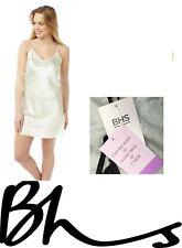 Cream satin silky nightie full slip pyjamas nightdress BHS British Home Stores
