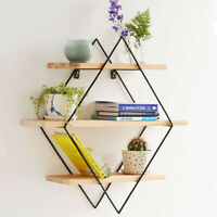 Vintage Wall Unit Retro Industrial Rhombus Metal Wood Shelf Rack Storage
