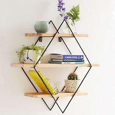 Vintage Wall Unit Retro Industrial Rhombus Metal Wood Shelf Rack Storage  ,