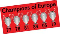 Liverpool FC 6 times European Champions League Winners 2019 vinyl sticker decal