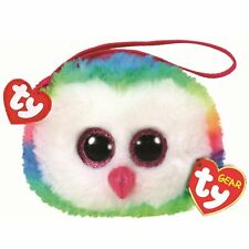 New 2018 TY Gear Beanie Boos OWEN Multi Color Owl Wristlet Coin Purse with Strap