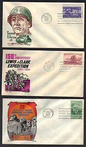US 1952 4 GEORGE S PATTON MOUNT RUSHMORE LEWIS & CLARK 3 FDCs CACHET CRAFT