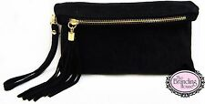 ladies black suede tassel evening clutch bag with wrist & shoulder strap