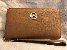 NWT MICHAEL KORS LEATHER FULTON LARGE FLAT MF PHONE CASE WRISTLET/WALLET-ACORN