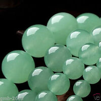 "4mm 6mm 8mm 10mm 12mm 14mm Natural Light Green Jade Round Loose Beads 15""AAA++"