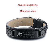 Adjustable Life Save Medical Alert ID Leather Bracelet Wristband Free Engraving