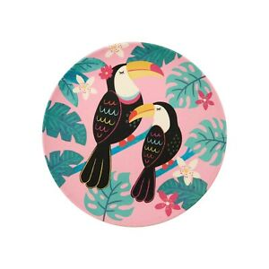 Tropical Pink Tiki Toucan Bamboo Plate by Sass and Belle Eco Picnic Garden Party