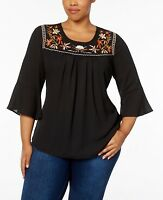 NY Collection Embroidered Bell Sleeve Top Blouse Black NWT Women's Plus Size 2X
