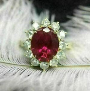 2Ct Oval Cut Red Ruby Halo Women's Flower Engagement Ring 14K Yellow Gold Finish