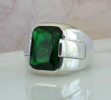 Ottomane Grün Emerald Edelstein Solide 925 Sterling Silber Ring Edelstein