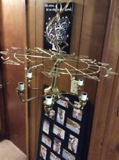 "Chandelier Frame Brass Tone Crystal Glass Canopy 6 Light Socket 18""X11"" Skeleton"