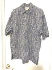 Cooke Street XL Cotton Island Print SS Gray Palm trees Hawaiian Shirt 50x30