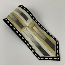 Henri Picard Vintage Art Deco Black Gold Silk Tie. T31