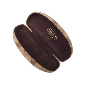 Coach Original eyeglasses Hard Case Brown Signature Monogram w Cleaning Cloth