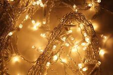 Lichterkette 120 LED Lichtervorhang Warmweiß Innen und Außen Strom Kabel 230KV