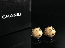 Auth Chanel Coco Mark beige Gold Earring With Box 6I140190S
