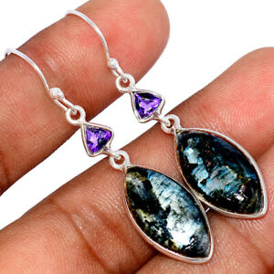 Larvikite Black Moonstone - Norway & Amethyst 925 Silver Earring Jewelry BE54746
