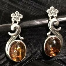 "Dangle Post Back Earrings 1"" Long Nice Estate Sterling Silver Drop Amber Flower"