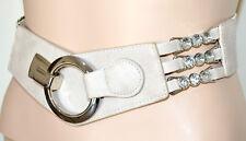 CEINTURE BEIGE femme eco cuir cristal strass élastique corset boucles argent A38