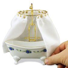 Dollhouse Miniature Blue Rose Tub & Shower by Reutter Porcelain