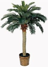 Fake Palm Tree 4 Feet Tall Artificial Potted Plant Tropical Decor Nearly Natural