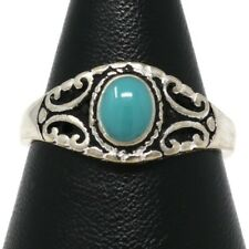 Handmade Oval Blue Turquoise Ring 14K White Gold Plated Jewelry Nickel Free