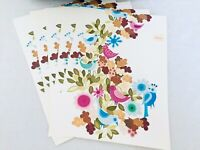 70's Vintage 7 Unfolded Blank Note Cards Birds & Flowers Stationary, Postcards