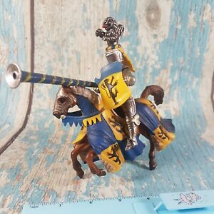 Schleich Mounted Blue And Gold Jousting Knight on Horse Model Toy Figure