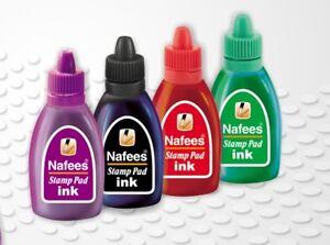 Stamp Pads Uninked & Endorsing Ink Refill Bottles-Black Red Violet Green- 30ml