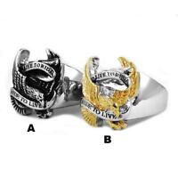Live To Ride Eagle Biker Ring Stainless Steel Ride To Live Mens Ring Silver Gold