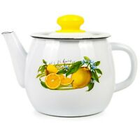 1.1-Qt Enamel Brewing Teapot with Lemons Print. Sturdy Durable Tea Pot